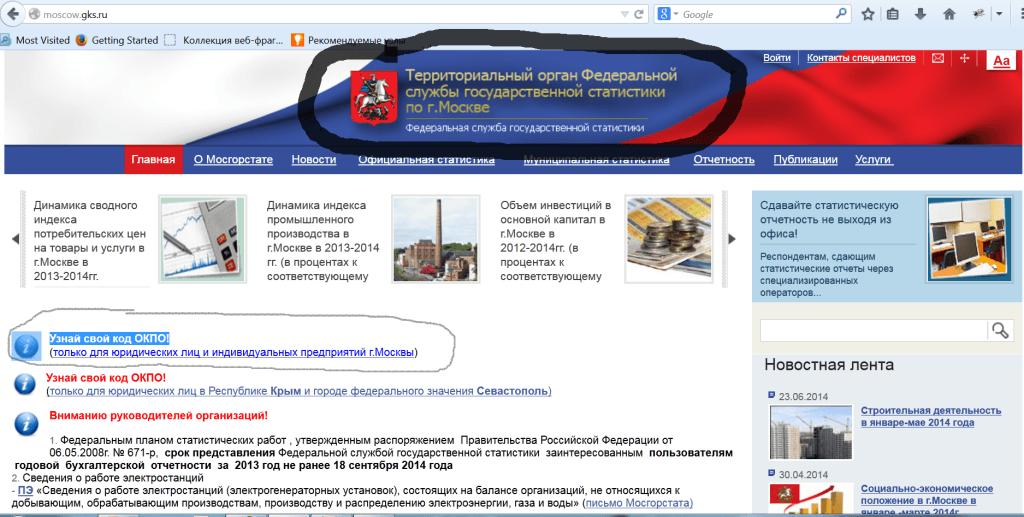 коды статистики москва