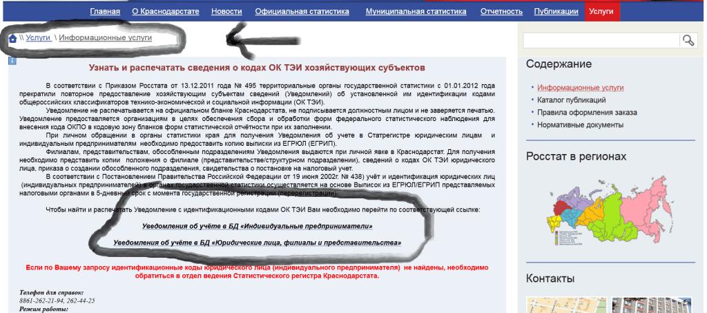 коды статистики Краснодар