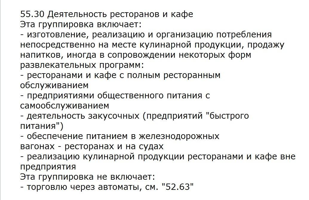 ОКВЭД 55.30 расшифровка