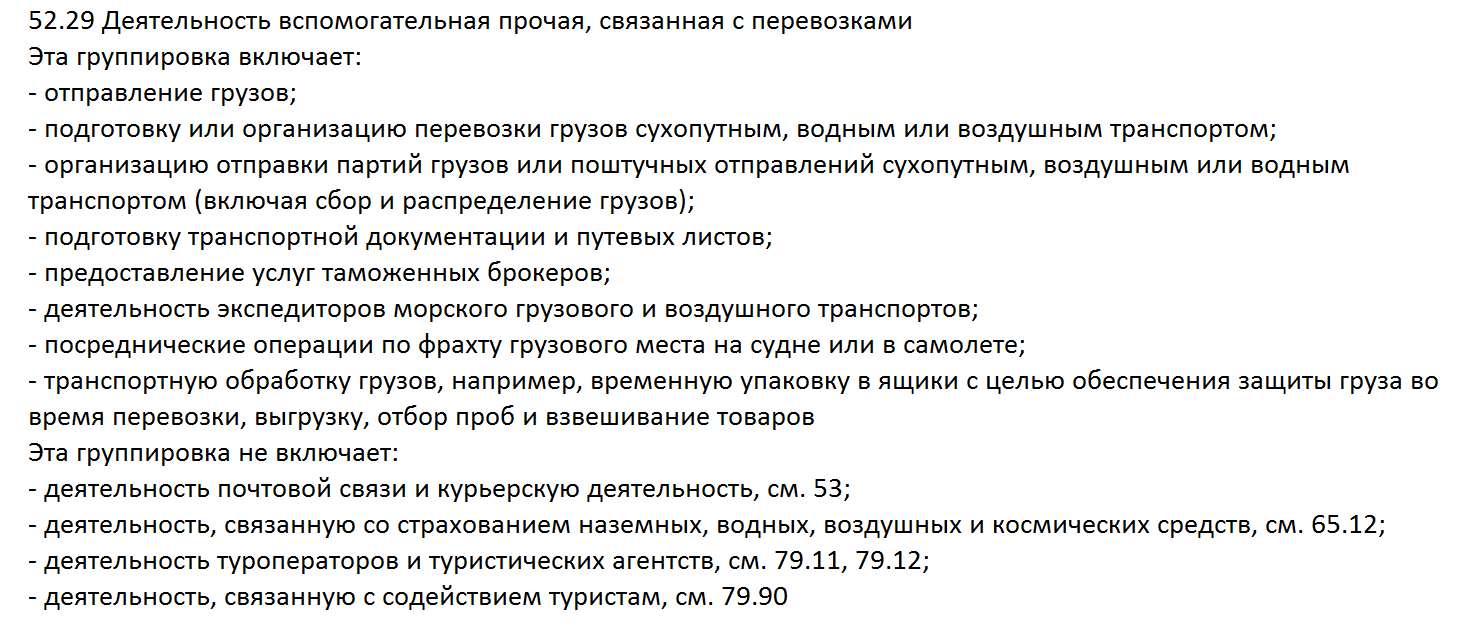 расшифровка ОКВЭД 52.29