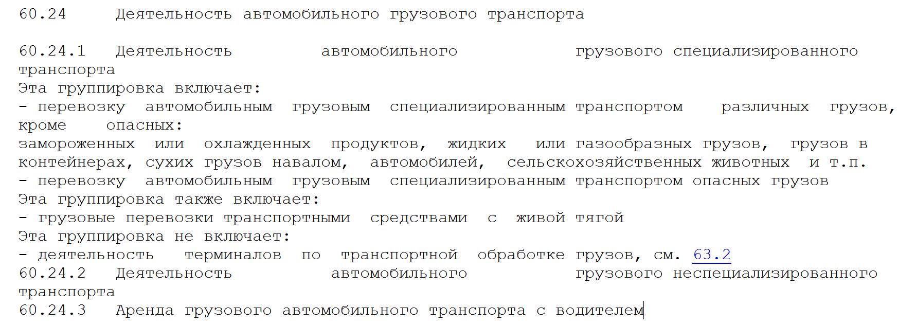 ОКВЭД 60.24 расшифровка