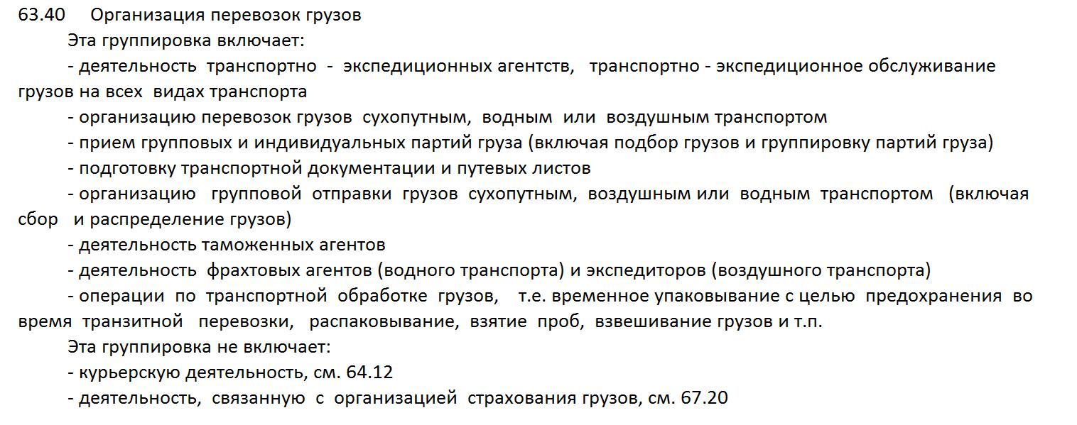 расшифровка ОКВЭД 63.40 2016
