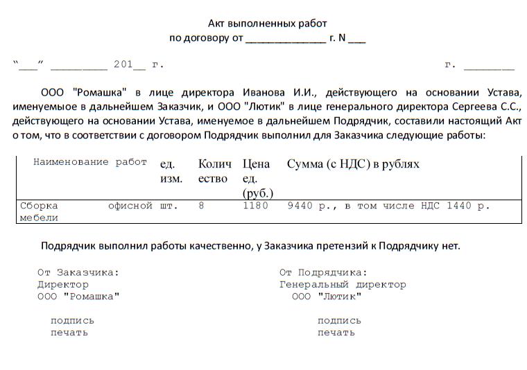 акт приемки выполненных работ (образец)